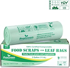 ProGreen 100% Compostable Bags 3 Gallon, Extra Thick 0.71 Mil, 100 Count, Small Kitchen Trash Bags, Food Scraps Yard Waste Bags, Biodegradable ASTM D6400 BPI And VINCOTTE Certified