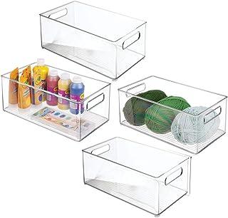 mDesign zestaw 4 szt. pudełko do sortowania rękodzieła – pudełko do przechowywania materiałów rzemieślniczych – organizer ...