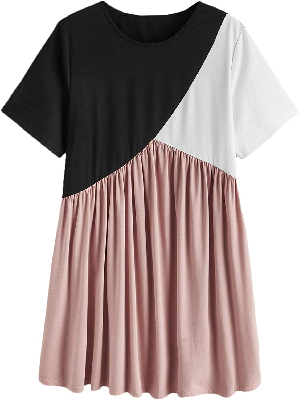 Romwe Women's Plus Size Casual Colorblock A Line Short Sleeve Swing T Shirt Dress
