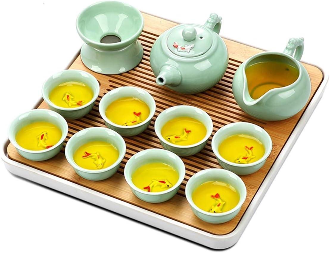 FTTHYAG Tea Sets Kungfu Ceramic Set Tray New item Bamboo Te Branded goods Chinese