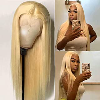 613 Lace Front Wig Human Hair 4x4 Middle Part Lace Front Wigs Pre Plucked Remy Transparent Blonde Lace Front Wigs Brazilia...