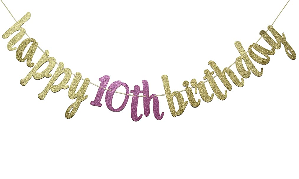 Happy 10th Birthday Glitter Garland Banner-Happy 10th Birthday Party Supplies (Gold & Rose)