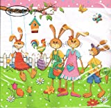 Unbekannt Ti-Flair Famiglia Lepre nel Giardino - Servilletas, diseño de Pascua
