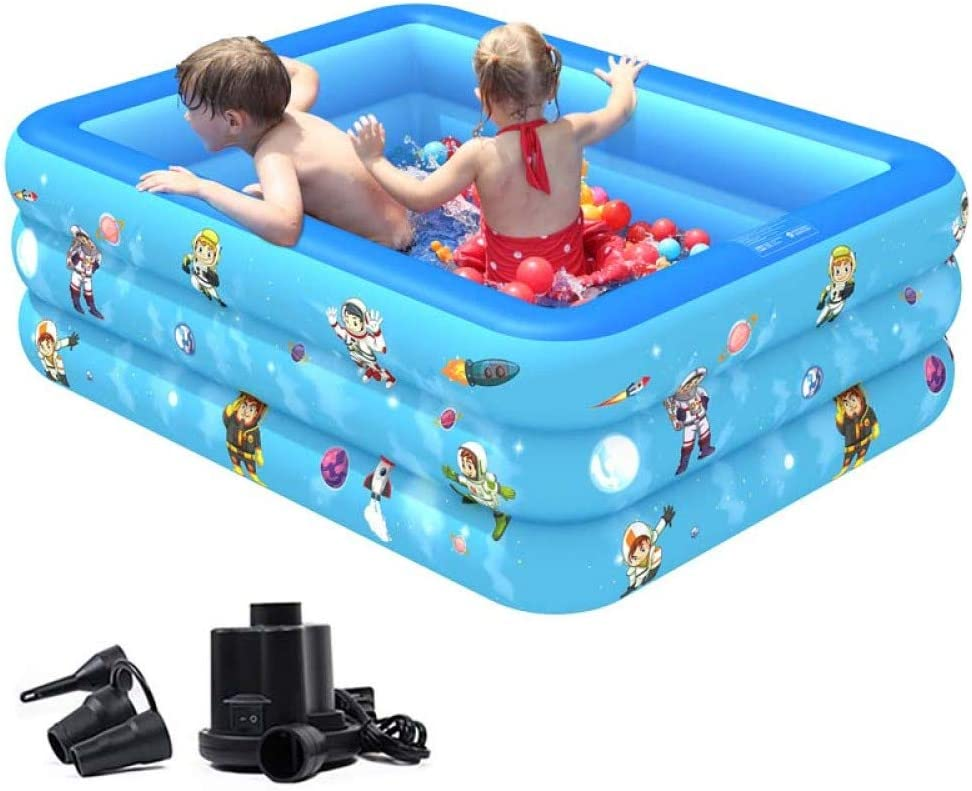 Inflatable Swimming Deluxe Pool Blow up Inflat for Reservation Family Kiddie