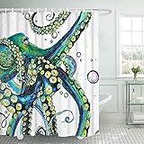 Smurfs Yingda Bathroom Shower Curtain Colorful Fashion Octopus Shower Curtains Durable Fabric Bath Curtain Waterproof Bathroom Curtain with 12 Hooks