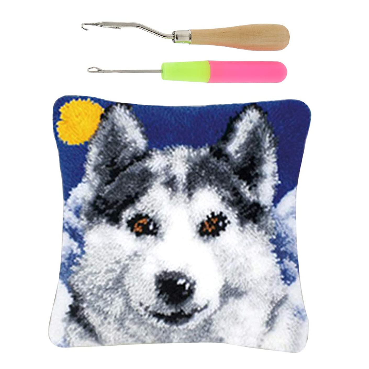 SM SunniMix Wolf Pattern Latch Hook Rug Kits with 2pcs Latch Hooks, Beginners Kids Adults are Suitable