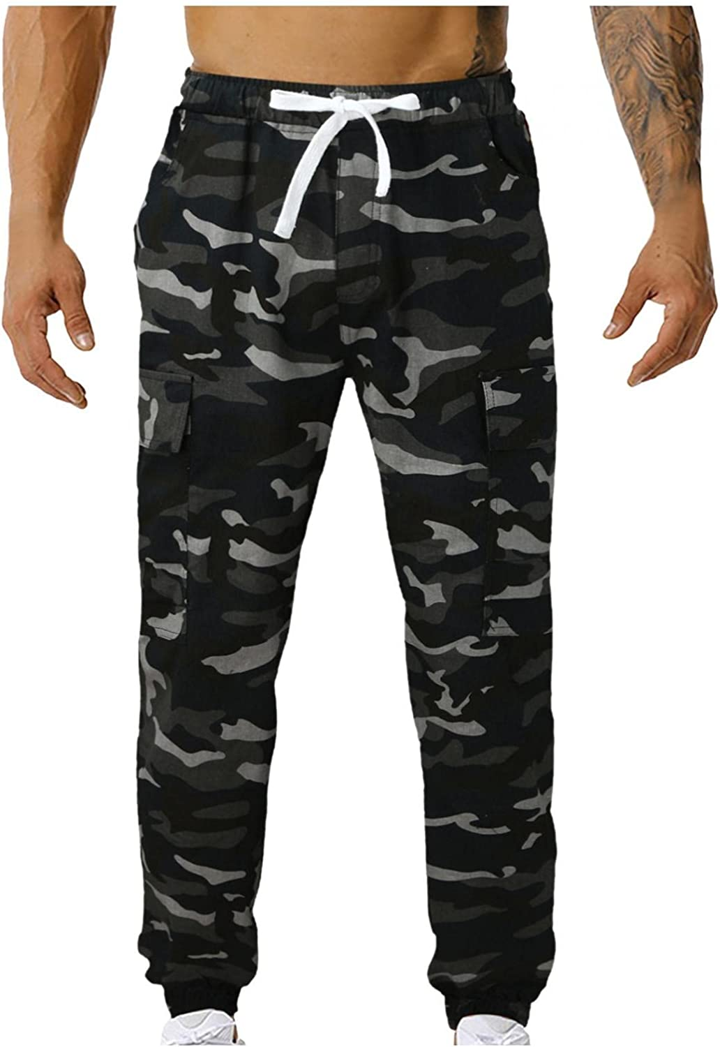 Beshion Mens Jogger Sweatpants Slim Fit Overalls Military Camouflage Combat Cargo Pant Mid-Waist Athletic Running Trousers