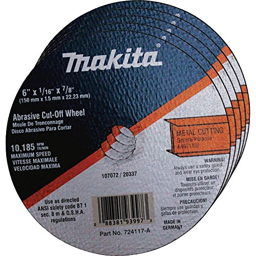 Makita 724117-A-25 6-Inch Steel Cut-Off Wheel, 25-Pack