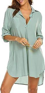 heekpek Copricostume Mare Donna Copribikini Costume da Bagno Camicia Maniche a 3/4 Camicia Bluse Cover Up Spiaggia Bikini Cover Up
