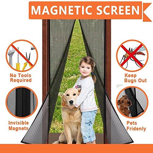 Magnet Fliegengitter Tür Insektenschutz 90x210 cm / 100x210 cm(Für Türen bis 86 x 208cm/96x208cm), Der Magnetvorhang ist Ideal für die Balkontür, Kellertür, Terrassentür, Kinderleichte Klebemontage Ga