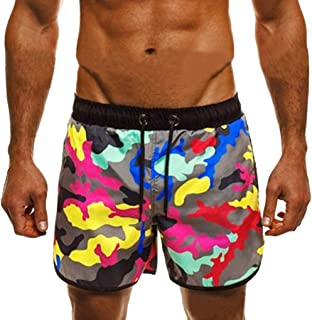 iLXHD Men Summer Casual Swimming Quick Dry Beach Shorts with Pockets