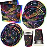 Musical Notes Tableware Set 24 9' Paper Plates 24 7' Plates 24 9 Oz Cups and 50 Luncheon Napkins Kids Music Party Supplies Birthday Decorations Music Note Karaoke Themed Party Favors by Gift Boutique