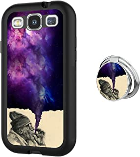Designed Smoking Old Man Samsung Galaxy S3 Case with Buckle Ring 360° Rotatable Silvery Durable Ring Buckle, TPU Black Antiskid Tread Phone Case for Samsung Galaxy S3