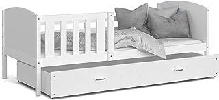 LIT Enfant Tomy 90x190 Blanc - Blanc livré avec sommier, tiroir et matelas de 7cm OFFERT.