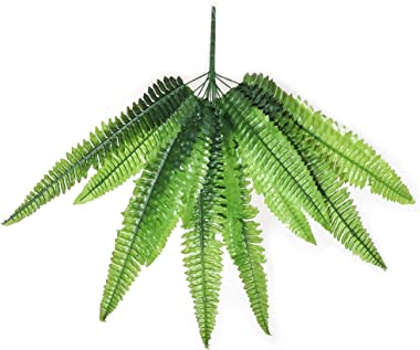"MYOYAY 10PCS Artificial Fern Plants 27.6"" Fake Boston Fern Plants Plastic Greenery Bushes Shrubs Plants for Wall Indoor Outdo"