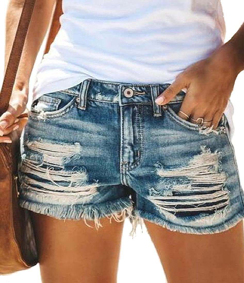 Lukitty Women's Jean Shorts Frayed Raw Hem Ripped Casual Summer Denim Shorts