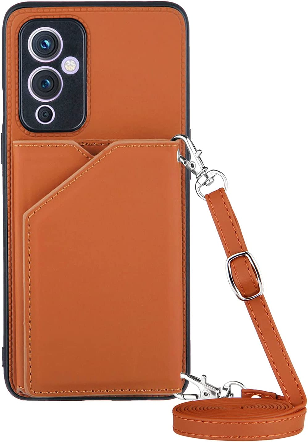 1+ 9 Wallet Case for Oneplus 9 5G Lanyard Case, Shockproof Stand Bumper Cover, Anti-Resistant Cross-Body Girly Case (Brown,Oneplus 9)