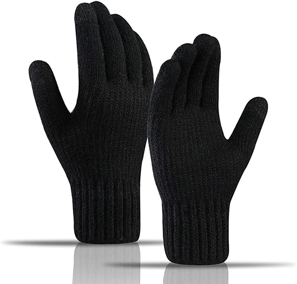 Avilego Men's Touch Screen Gloves Winter Outdoor Riding Wool Warm Thick Gloves