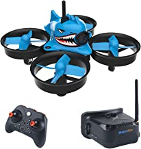 Makerfire Micro FPV Racing Drone with FPV Goggles 5.8G 40CH 1000TVL Camera RTF Tiny Whoop Mini FPV Quadcopter for Beginners,Altitude Hold, One Key Return, Headless Mode Armor Blue Shark