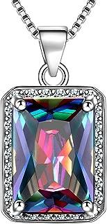 925 Sterling Silver Mystic-Topaz Jewelry Women Crystal Gift Girls Dating/Wedding/Anniversary Present Fashion Jewellery