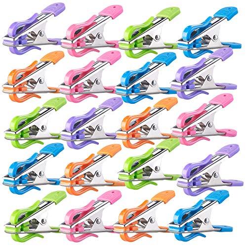 PEARL Kleiderklammern: Soft-Grip-Wäscheklammern mit Doppel-Kleiderhaken, 20 Stück, 5 Farben (Wäscheklammern ohne Abdruck)