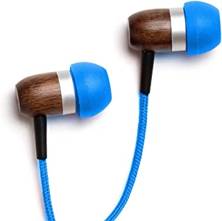 Symphonized GLXY Premium Genuine Wood in-Ear Noise-isolating Headphones with Mic and Nylon Cable (Blue)
