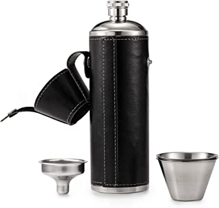 GENNISSY 10 OZ Black Bucket Hip Flask - PU Leather Stainless Steel Men Flasks for Liquor with Funnel and Cups