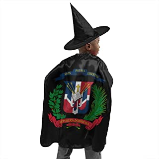 Coat of Arms Dominican Republic Halloween Costumes Witch Wizard Cape with Hat for Kids Children Boys Girls Party Cosplay Role Play Dress Up Props Set Black