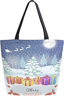 Womens Canvas Tote Bag Merry Christmas Winter Snowflake Large Shopping Bag Shoulder Handbag