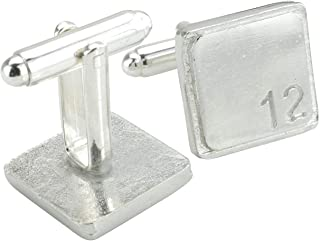 Square Cufflinks with '12' Engraved - 12th Anniversary