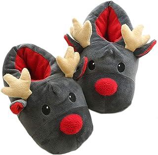 Kikier Pantoufles unisexes en peluche d'élan mignon animal chaussons de Noël chauds chaussons maison chaussures