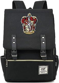 Mochila Harry P, Mochila Casual Gryffindor, Bolsa de Viaje de Moda de la Universidad de Hogwarts, Cremallera de Oro Grande Negro