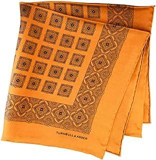 ポケットチーフ シルクチーフ メンズ 紳士 英国製 Silk ターンブル&アッサー Turnbull&Asser 大判 ツイル ジオメ Orange/Navy Size45x45cm C018
