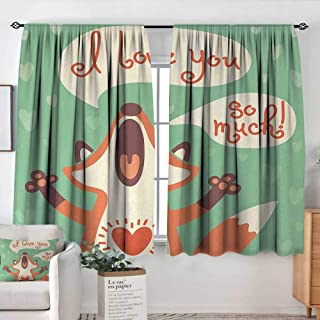 Bathroom Curtains Lifestyle,I Love You So Much Fox Humor Romance Birthday Valentines Celebration Print,Mint Green Ginger,Drapes Thermal Insulated Panels Home décor 42