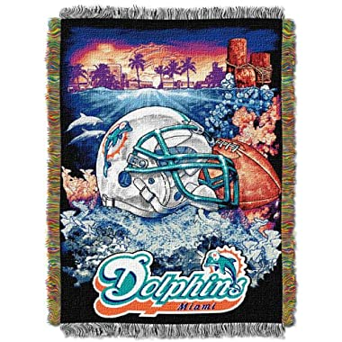 The Northwest Company Officially Licensed NFL Miami Dolphins Home Field Advantage Woven Tapestry Throw Blanket, 48  x 60
