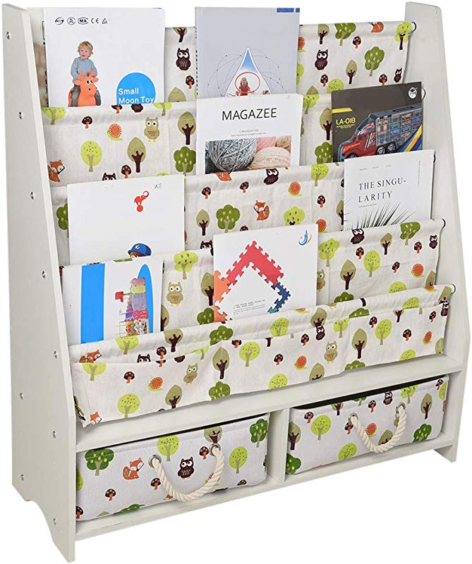UPDD Wooden Sling Bookcase With 2 Drawer Children S Magazine Picture Book Storage Rack Sturdy Canvas Fabric Young Reader Support White Large