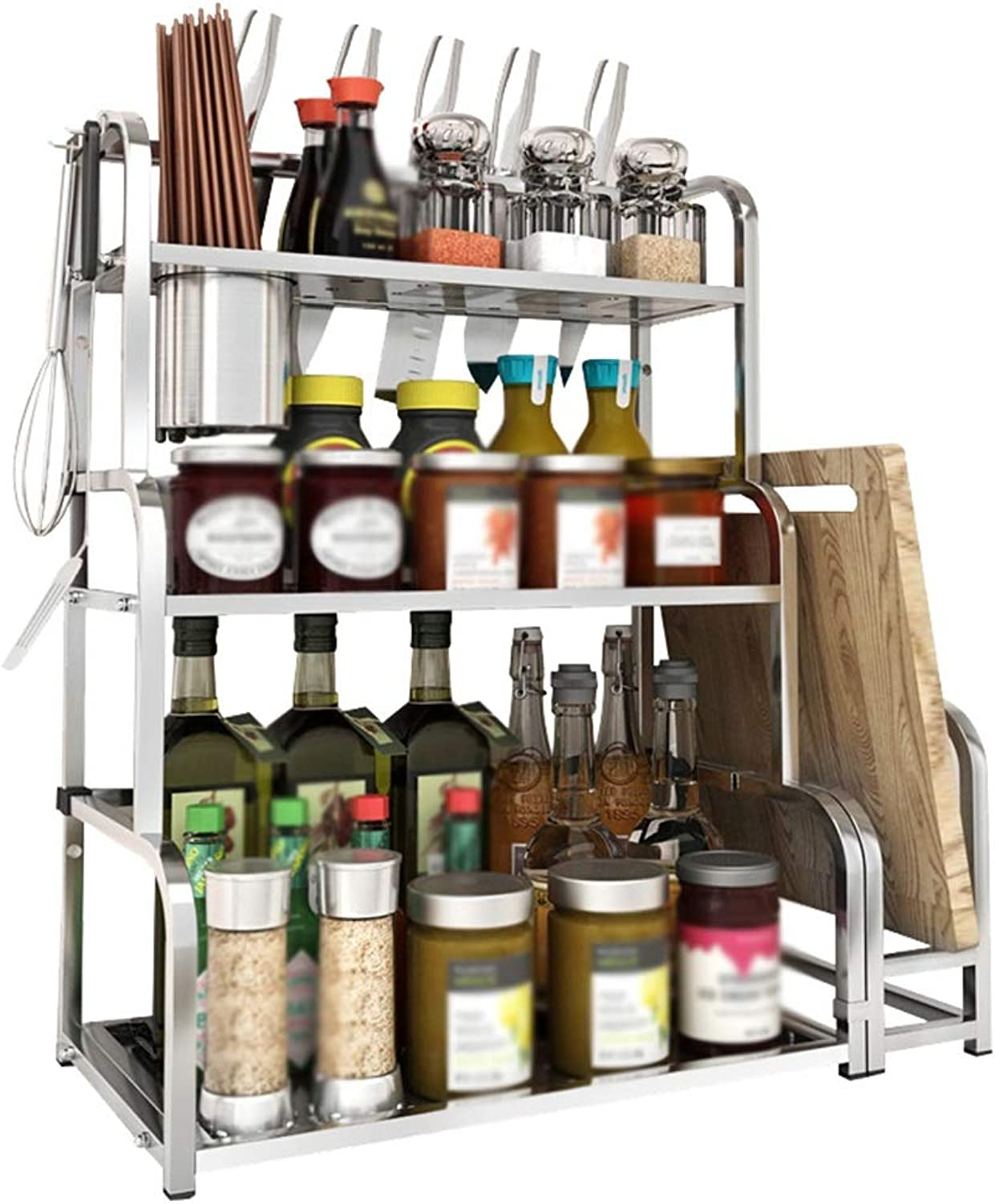 YANZHEN Kitchen Shelf Floor-Standing Simple and Modern Spice Rack Storage Kitchenware Wall Mount Stainless Steel, Bearing 50KG, 3 Size (color   Silver, Size   48x22x58cm)