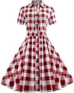 Vintage Shirt Collar Plaid A Line Dress