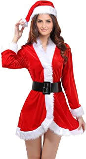Santa Claus Costume Womens Santa Suit Christmas Fancy Dress Costume with Dress Belt and Hat One Size - 3 Pieces
