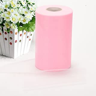 Haperlare 6 Inch x 200 Yards (600FT) Pink Tulle Rolls Tulle Spool Pink Tulle Fabric Rolls Wedding Tulle for Gift Bow Craft Tutu Skirt Wedding Party Decorations