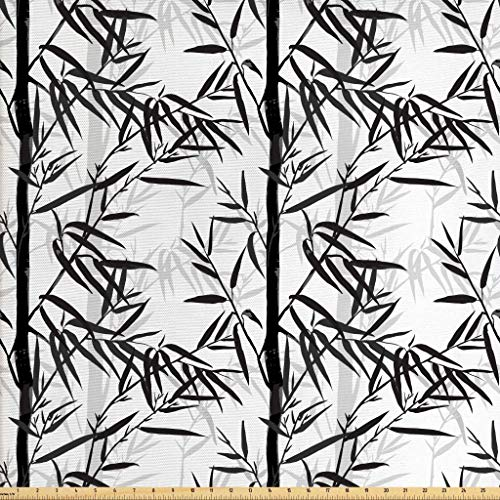 Lunarable Bamboo Print Fabric by The Yard, Abstract Forest Leaves Floral Chinese Garden Plants Spa Summer, Decorative Fabric for Upholstery and Home Accents, 1 Yard, Charcoal Grey