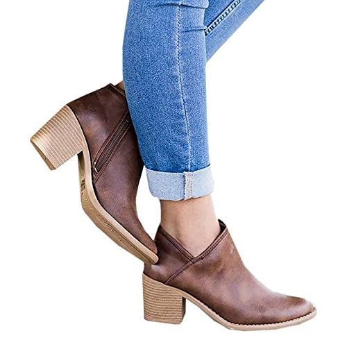 Chelsea Boots Women Block Heel Ankle Leather Winter Lace Flat Low Ladies  Casual Comfortable Chunky 5cm ff84260f3a