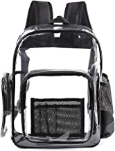Premium Durable Clear Backpack Transparent See Through PVC Plastic Bags with Laptop Compartment for Work,School,Travel,Con...