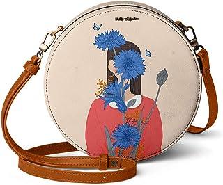 DailyObjects Cornflower Blue Blooms Orbis Round Sling Crossbody Bag for girls and women | Vegan leather, Stylish, Sturdy, ...