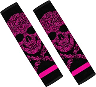 INTERESTPRINT Floral Pink Skull and Crossbones Stripes Auto Seat Belt Covers, Seatbelt Shoulder Pads for a More Comfortable Driving