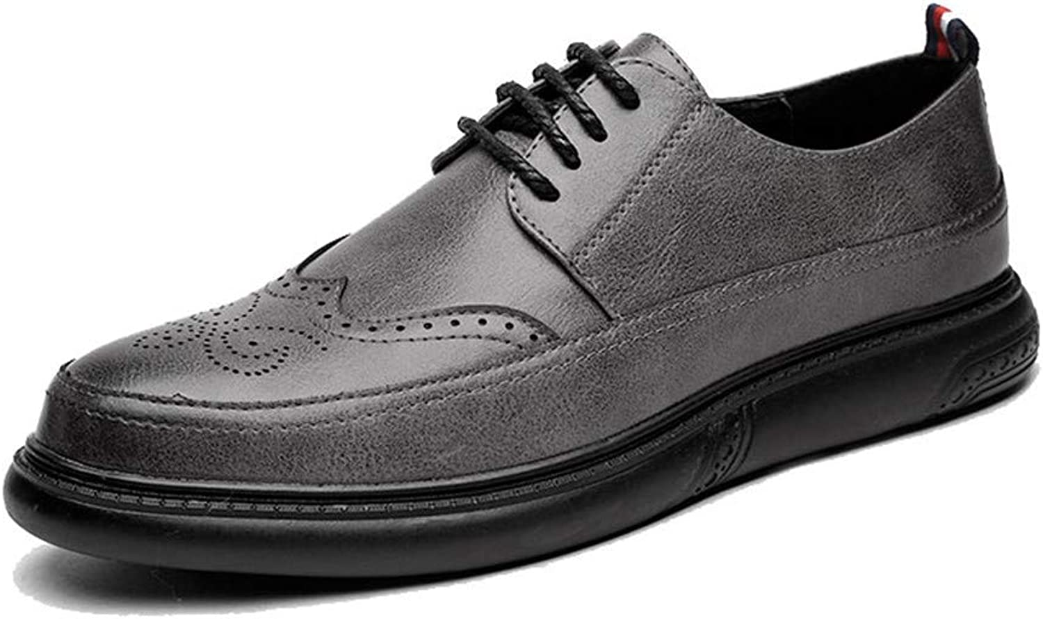 XHD-Men's shoes Fashion Men's Business Oxford Casual Classic Solid Coloured Pointed Toe Breathable Brogue shoes