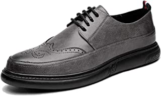 Men's Business Oxford Superficial Classic Hearty Coloured Pointed Toe Breathable Brogue Shoes casual shoes (Color : Gray, Size : 42 EU)