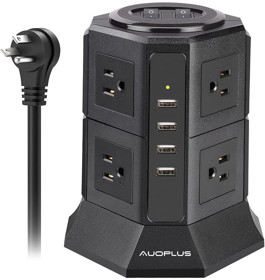 Power Strip Tower AUOPLUS Surge Protector, 8 Outlets with 4 USB Ports Long Extension Cord 6.6 Ft, Widely Spaced Multi Outlets, Overload Protection for Home, Office, Travel, Smartphone