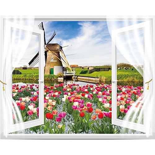 Stereoskopische Tapete der Simulation 3D, europäische selbstklebende Tapete, Wohnzimmerschlafzimmerdekorationen, gefälschte Fenster, Holland-Windmühle, Übergröße