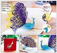 XiZiMi 創造的な孔雀の誕生日グリーティングポップアップカード 高い手作りのスキル 家 誕生日に理想的 結婚式や記念日 封筒を含む 母の日 Green 15*15cm
